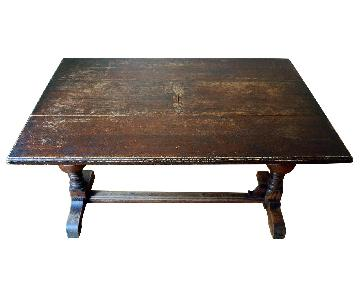 Antique c.1890s Refectory Dining Table w/ Extension Blade