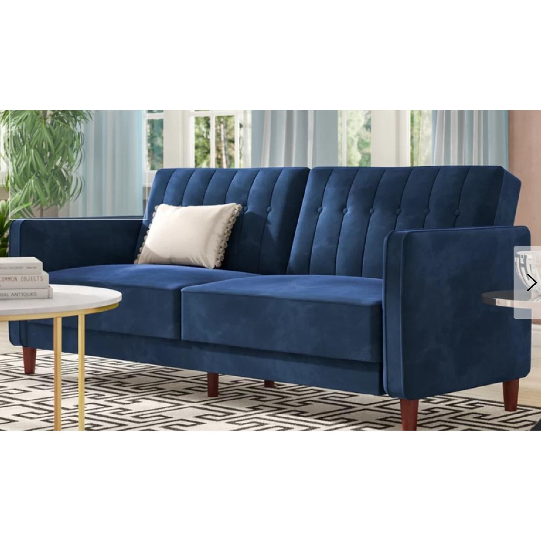 Willa Arlo Navy Velvet Convertible Sofa - image-1