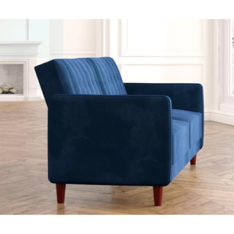 Willa Arlo Navy Velvet Convertible Sofa - image-2