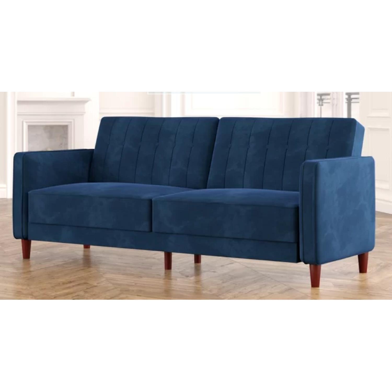 Willa Arlo Navy Velvet Convertible Sofa - image-3