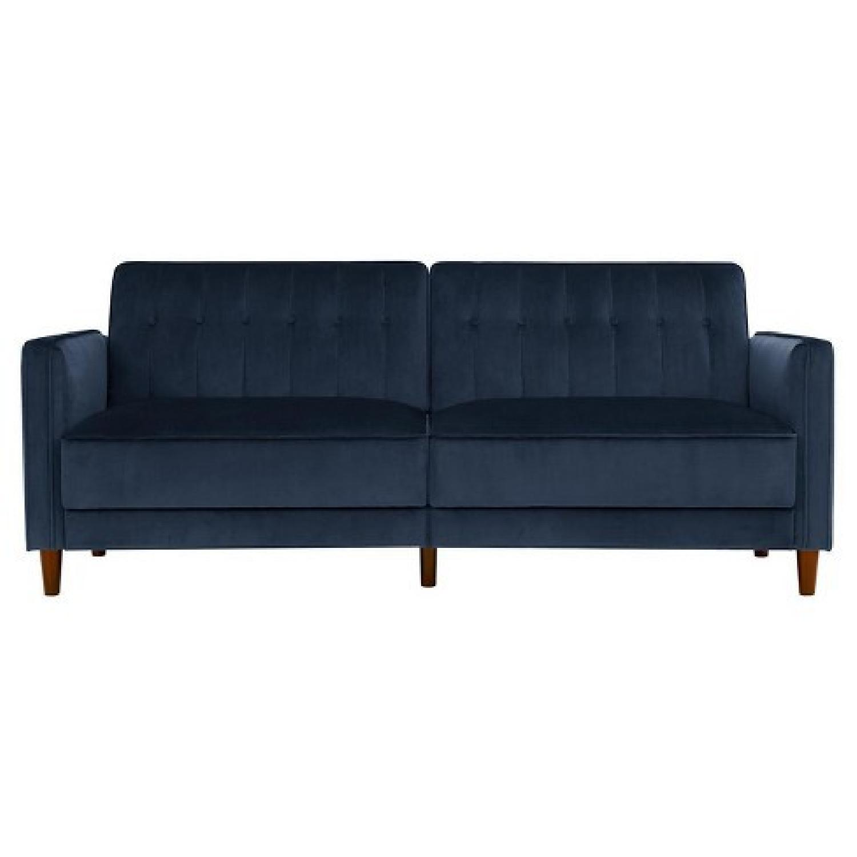Willa Arlo Navy Velvet Convertible Sofa - image-0