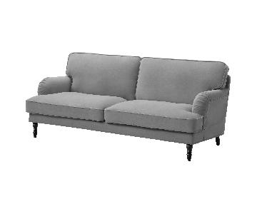 Ikea Stocksund Gray Fabric Sofa w/ Brown Wood Legs