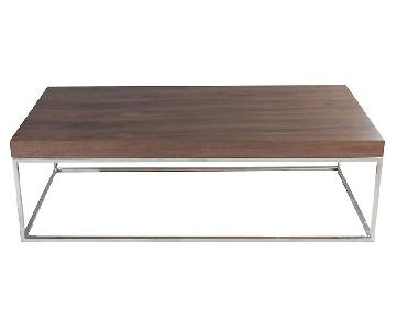 One King's Lane Walnut Fred Coffee Table w/ Silver Base