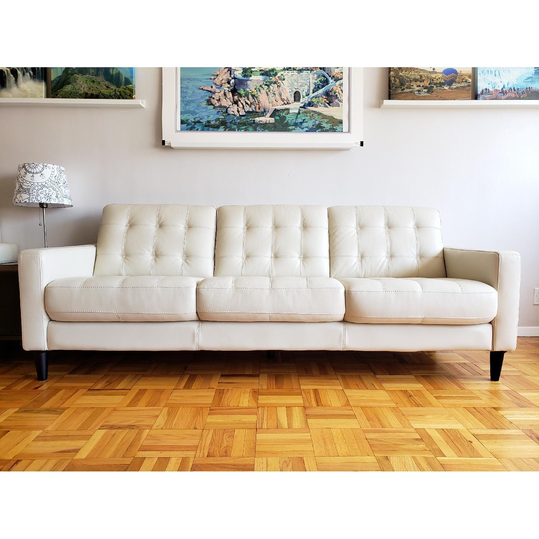 Macy's Carla White Leather 3-Seater Sofa - image-1