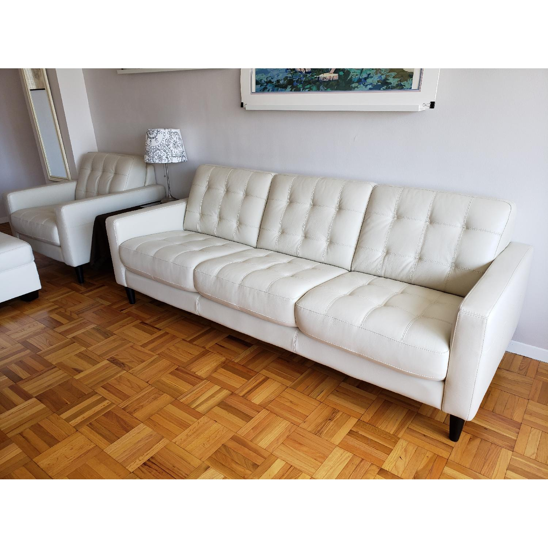 Macy's Carla White Leather 3-Seater Sofa - image-2
