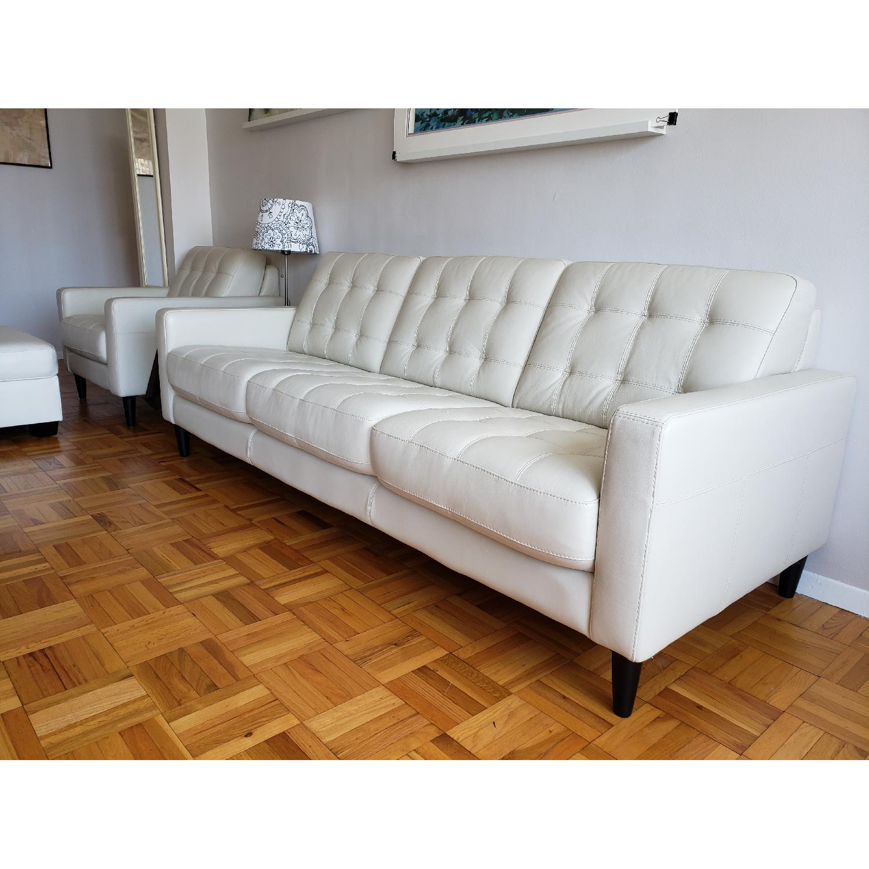 Macy's Carla White Leather 3-Seater Sofa - image-3