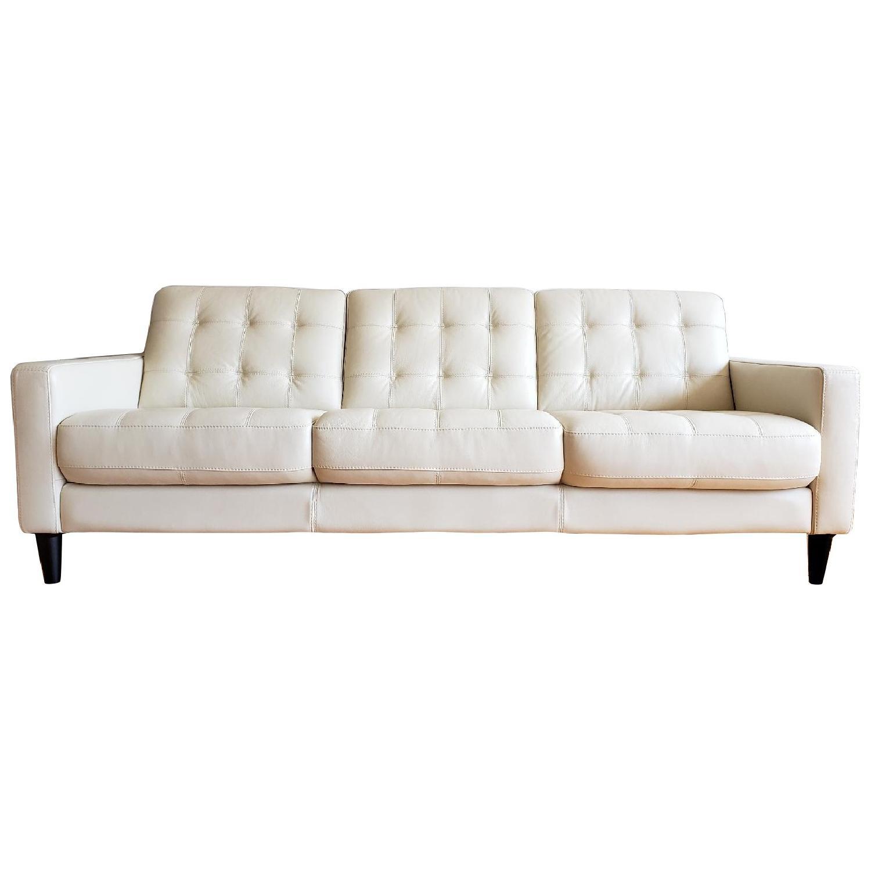 Macy's Carla White Leather 3-Seater Sofa - image-0