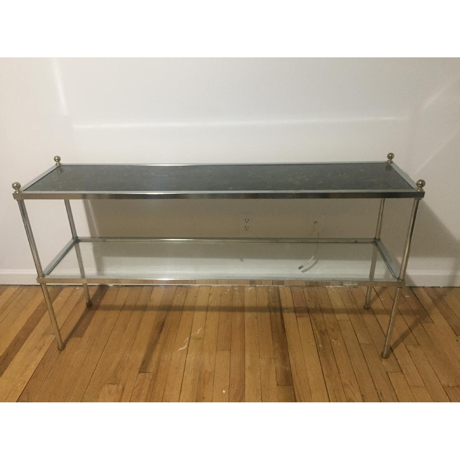 Chrome & Glass Two Tier Console Table - image-0