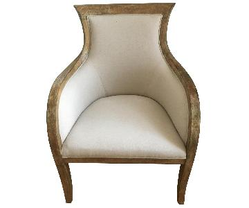 Natural Linen & Distressed Wood Armchair