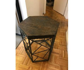 Geometric Walnut & Bronze Accent/End Table