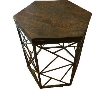 Geometric Walnut & Bronze Accent/End Table