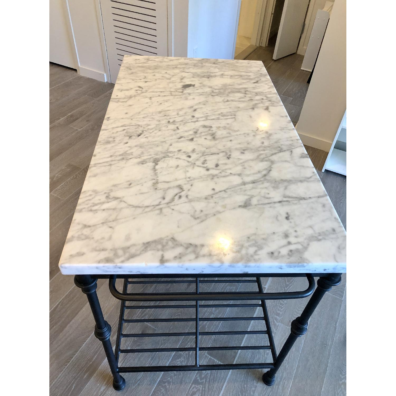 Crate & Barrel Marble-Top French Kitchen Island-1