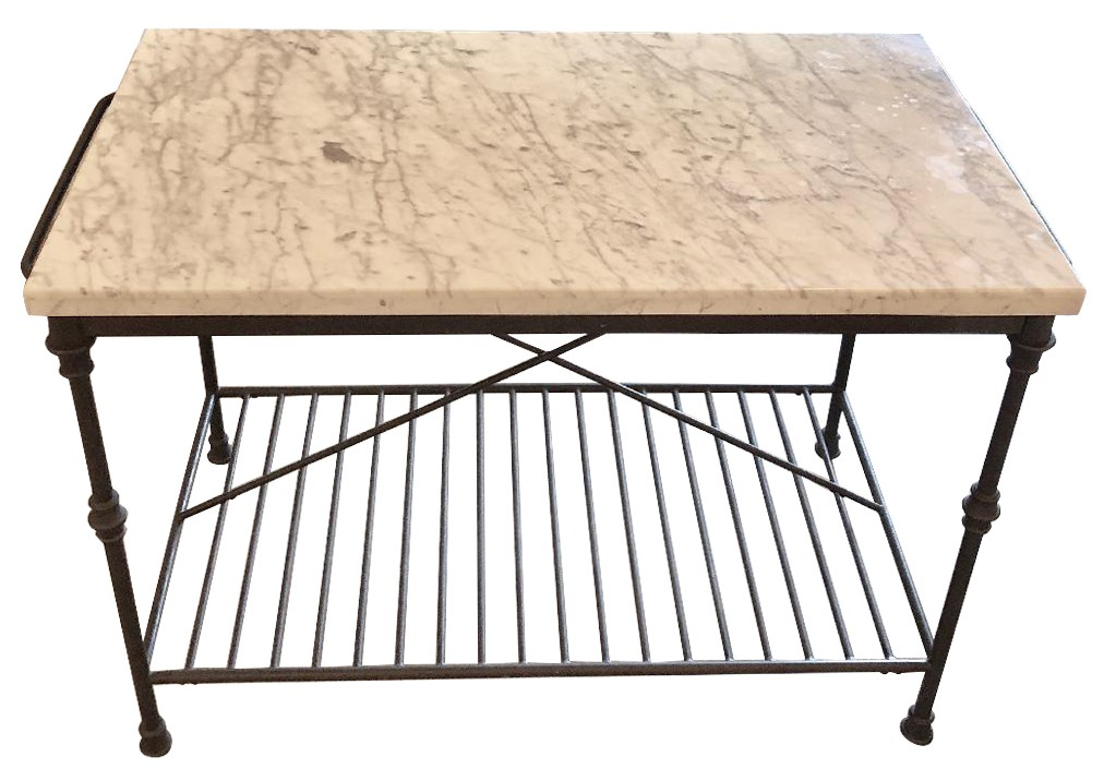 Crate & Barrel Marble-Top French Kitchen Island