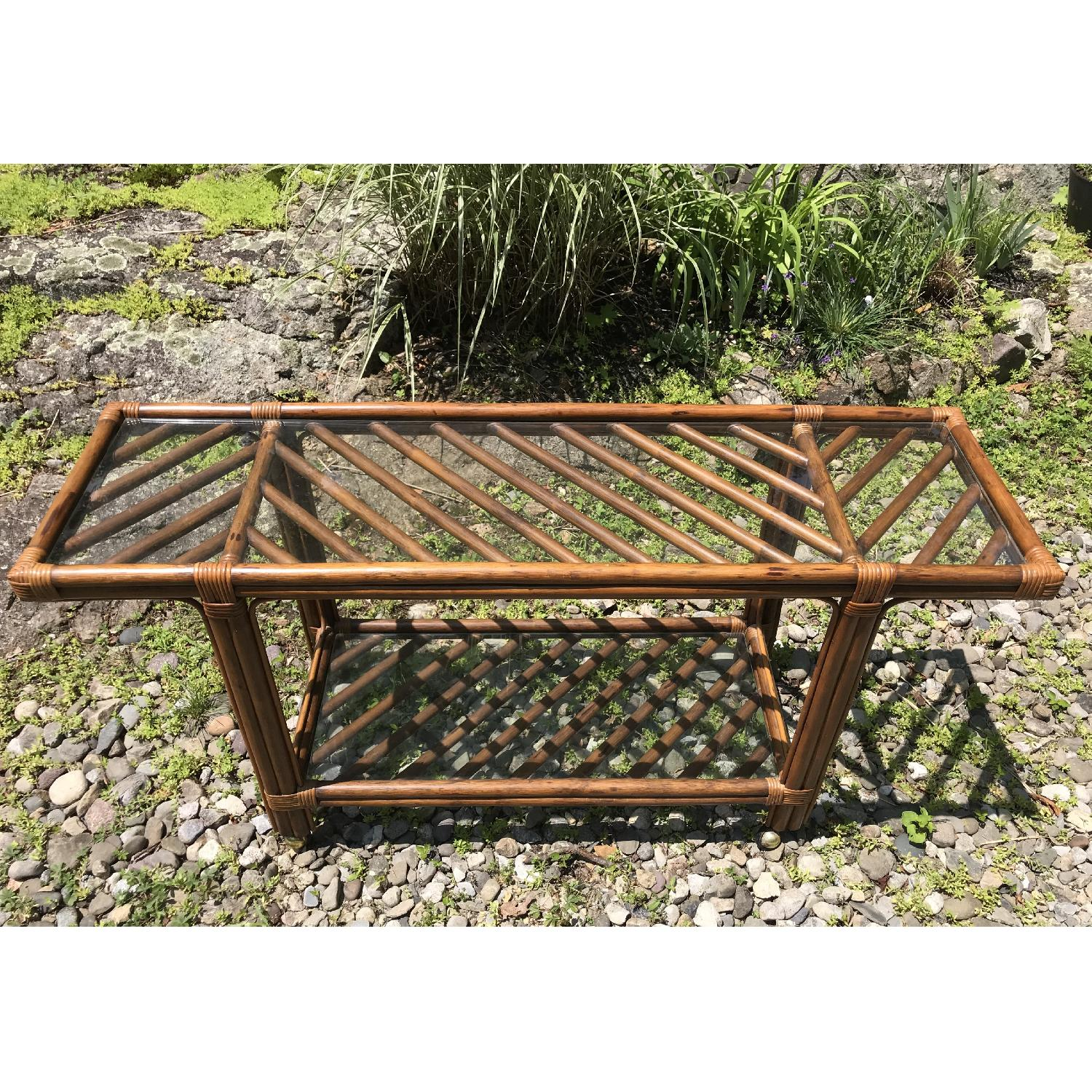 Vintage Bamboo Rattan Bar Cart/Console Table - image-1