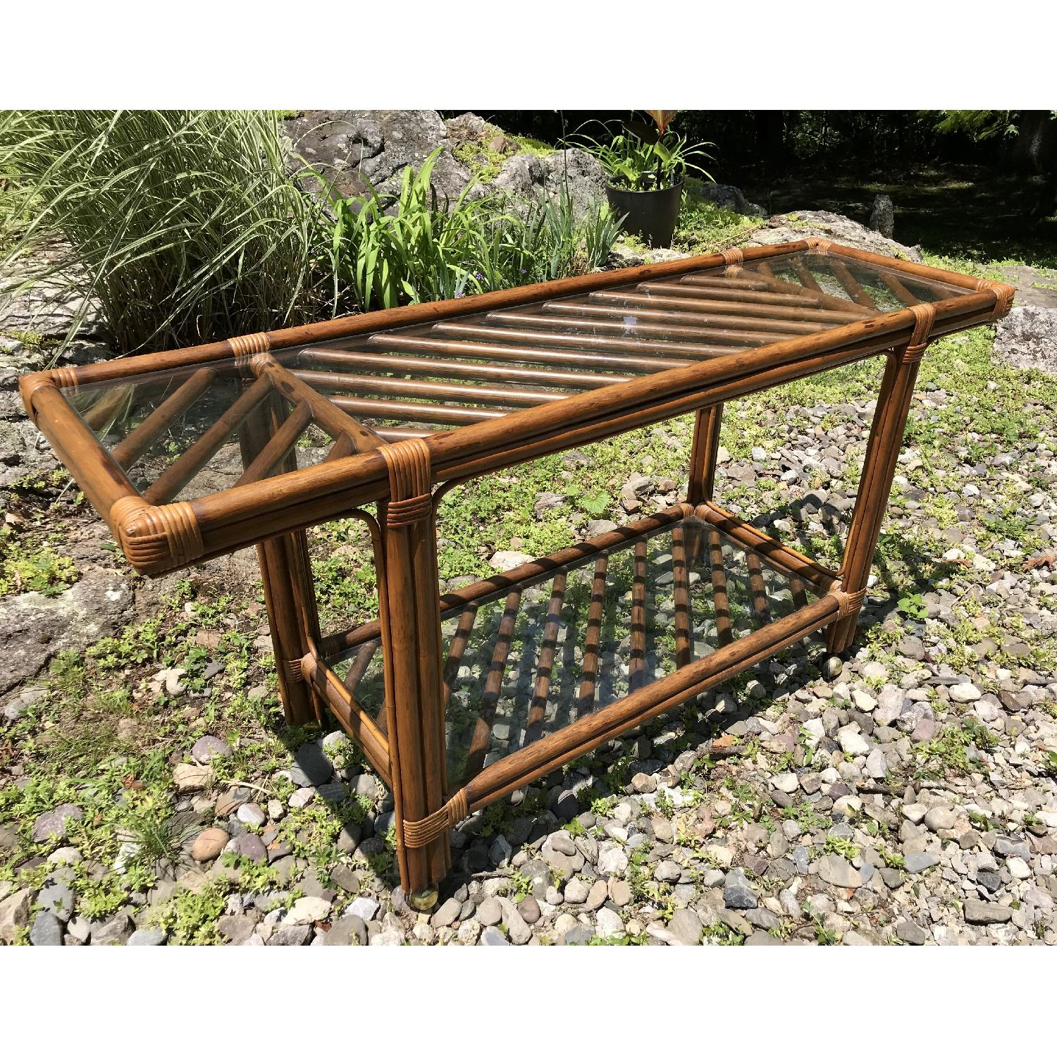 Vintage Bamboo Rattan Bar Cart/Console Table - image-2