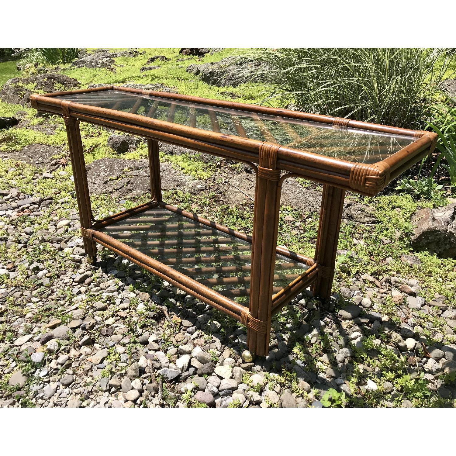 Vintage Bamboo Rattan Bar Cart/Console Table - image-3