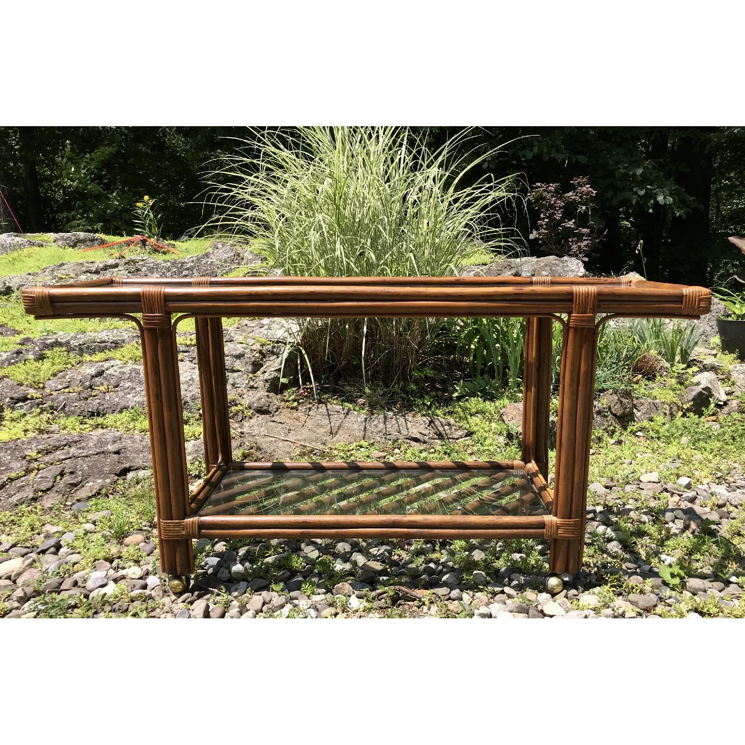 Vintage Bamboo Rattan Bar Cart/Console Table - image-6