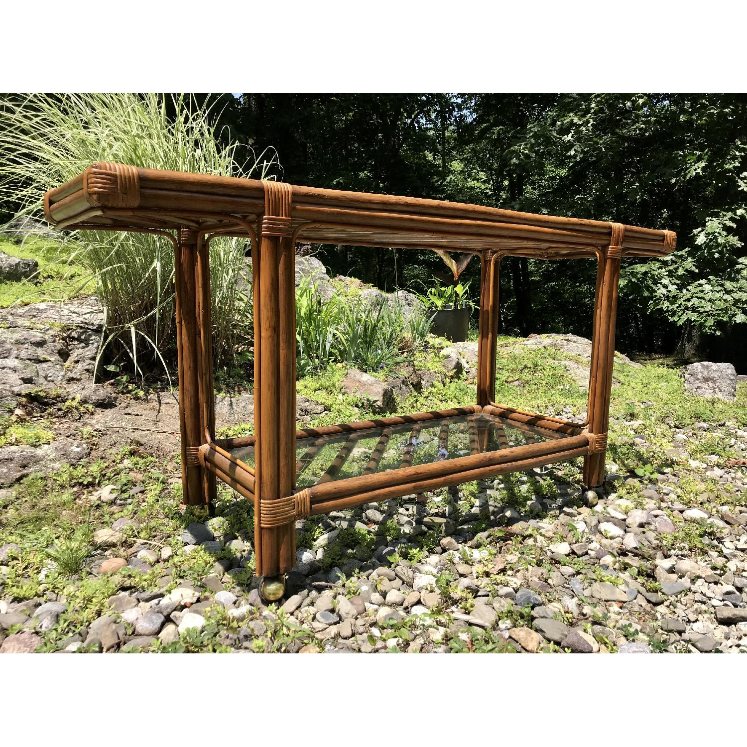 Vintage Bamboo Rattan Bar Cart/Console Table - image-8