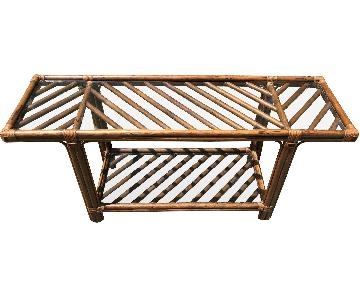 Vintage Bamboo Rattan Bar Cart/Console Table