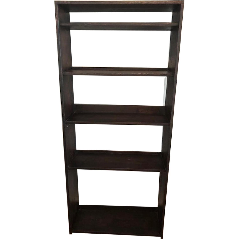 Custom-Made Red Mahogany Wood Bookcase - image-0