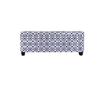 The Sole Secret Noah Tufted Blue Upholstered Storage Bench