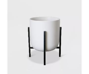 Target White Ceramic Planter w/ Black Stand