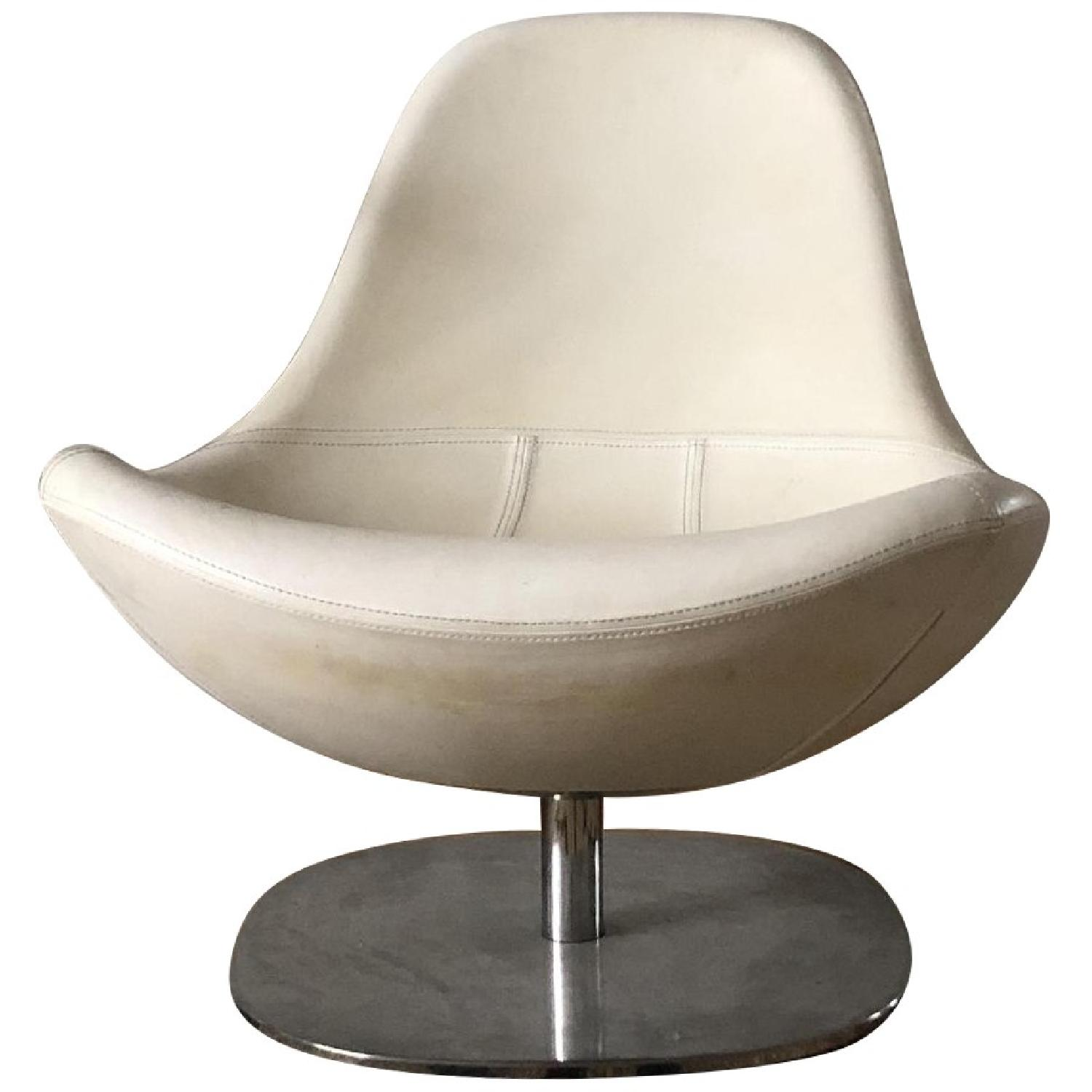 Vintage White Leather Lounge Chairs