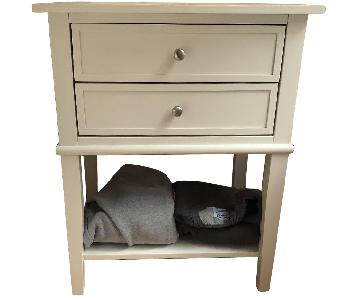 White End Table w/ Storage Drawers & Shelf