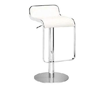 Adjustable White/Chrome Modern Bar Stools