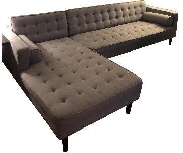 Light Grey 2-Piece Tufted Sectional Sofa