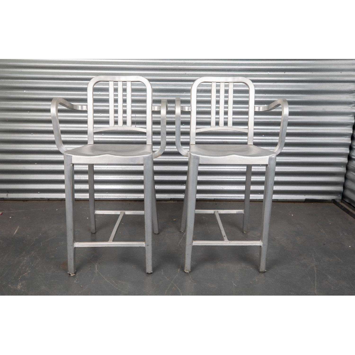 Emeco Navy Counter Stools w/ Arms in Brushed Finish - image-1