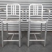 Emeco Navy Counter Stools w/ Arms in Brushed Finish