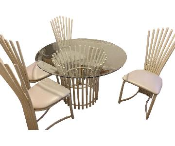 Macy's White Metal & Glass 5 Piece Dining Set