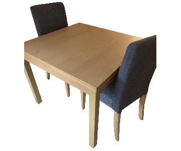 Ikea Extendable Oak Dining Table w/ 2 Chairs