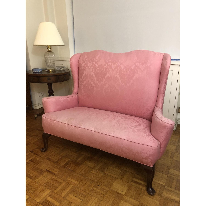 Pink Brocade Loveseat-0