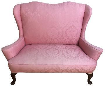 Pink Brocade Loveseat
