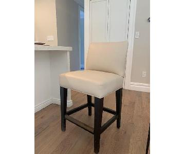 Lee Industries Cream Leather Bar Stools