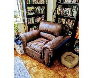 Espresso Faux Leather Armchair