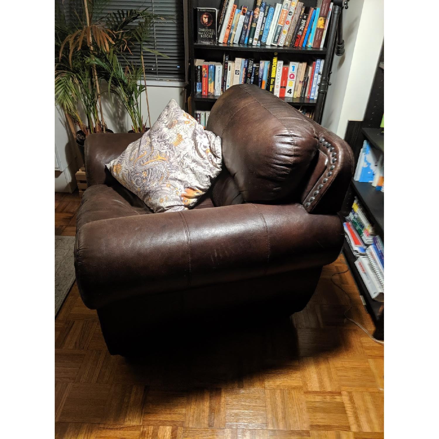 Espresso Faux Leather Armchair - image-2