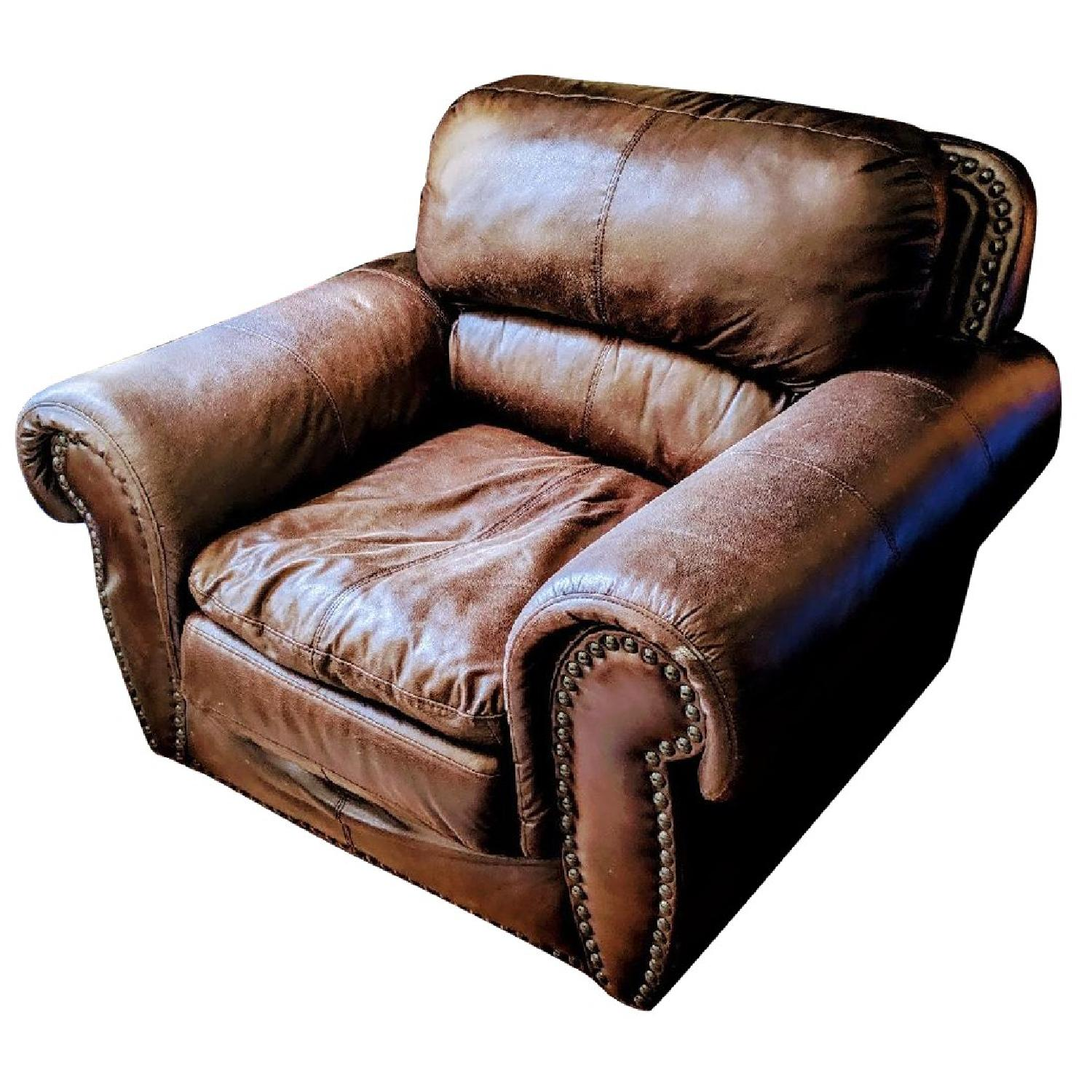 Espresso Faux Leather Armchair - image-0