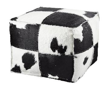 CB2 Black & White Spotted Hide Pouf