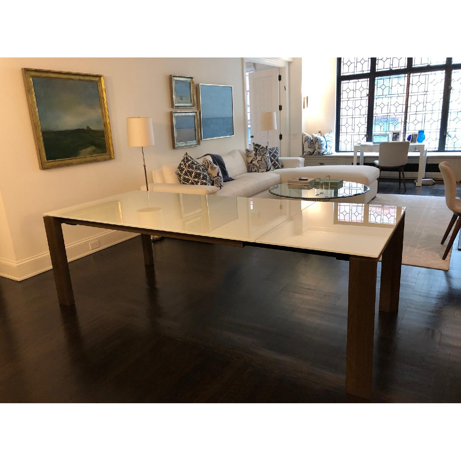 Calligaris Omnia Extendable Table w/ White Glass Top - image-1