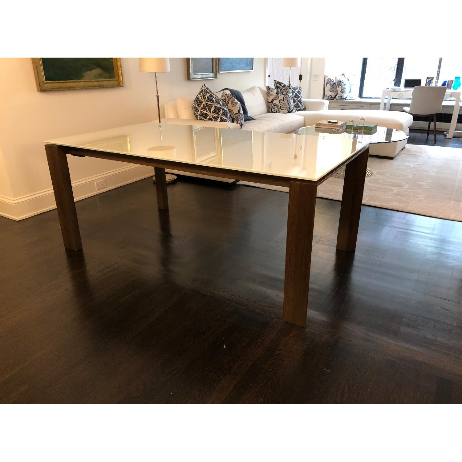 Calligaris Omnia Extendable Table w/ White Glass Top - image-3
