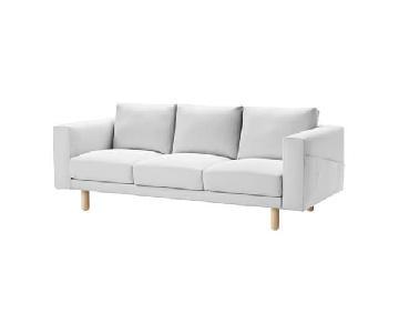 Ikea Norsborg White 3-Seat Sofa w/ White Birch Legs