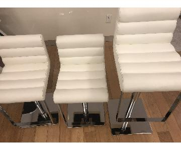 Jensen-Lewis White Leather Bar Stools