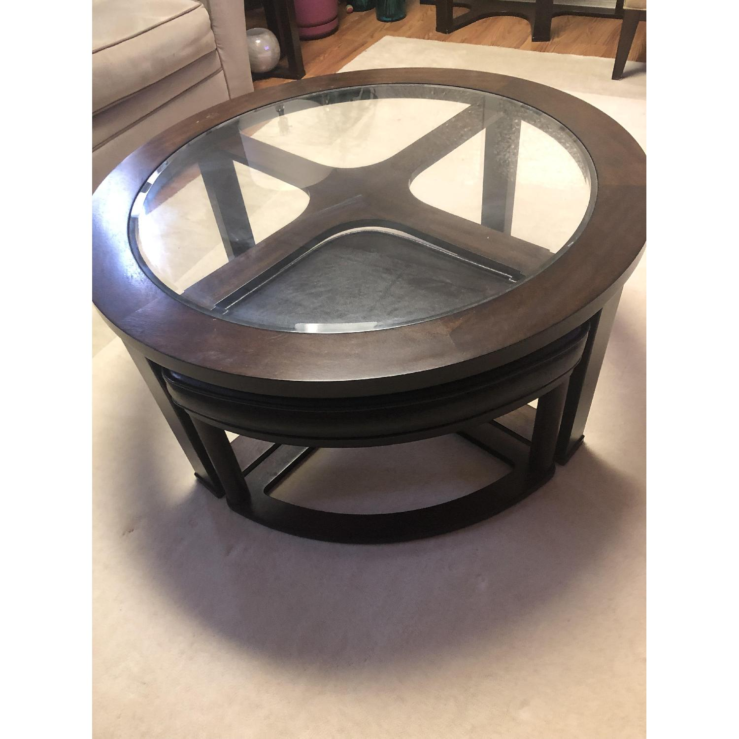Round Glass Top Coffee Table w/ 4 Ottomans - image-2