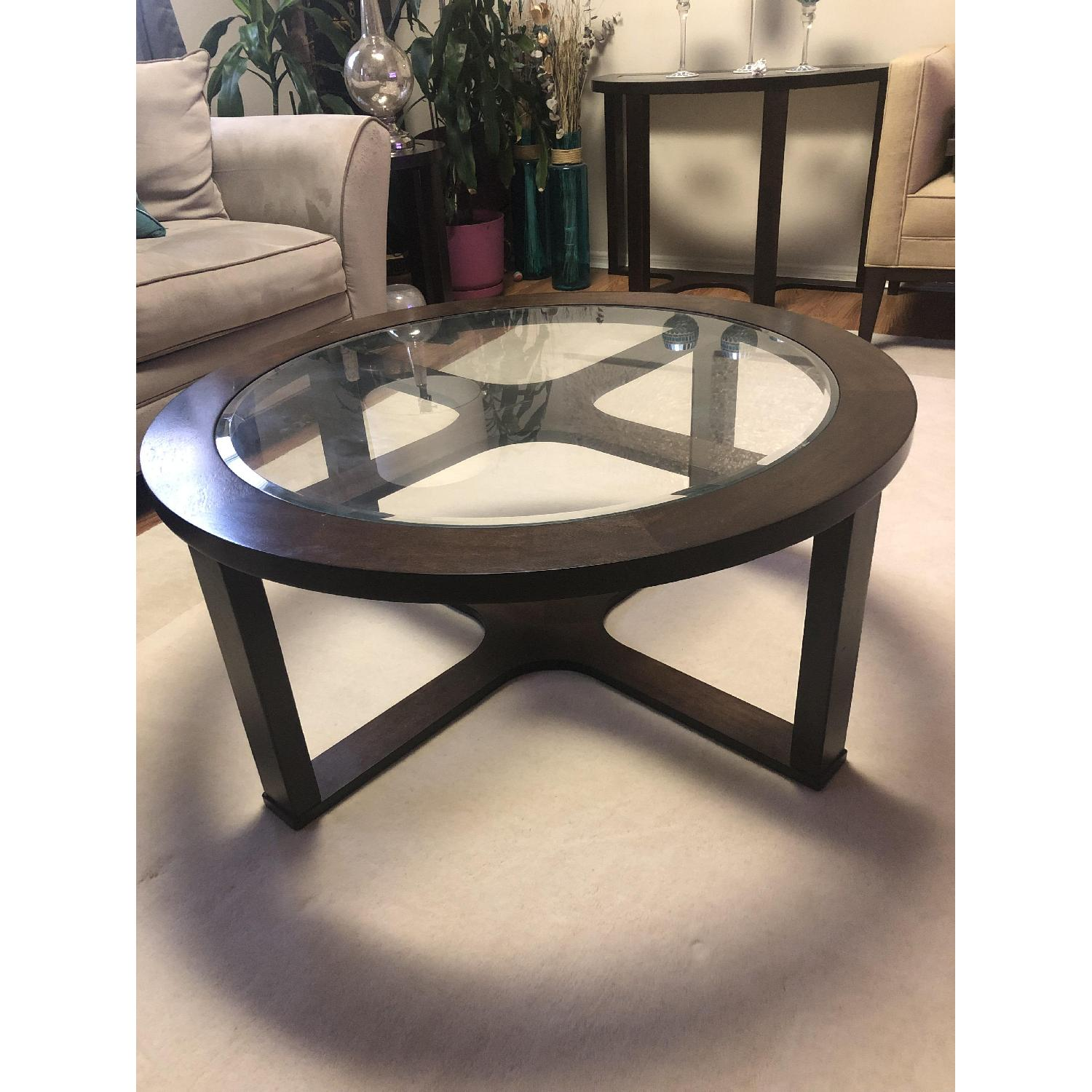 Round Glass Top Coffee Table w/ 4 Ottomans - image-5