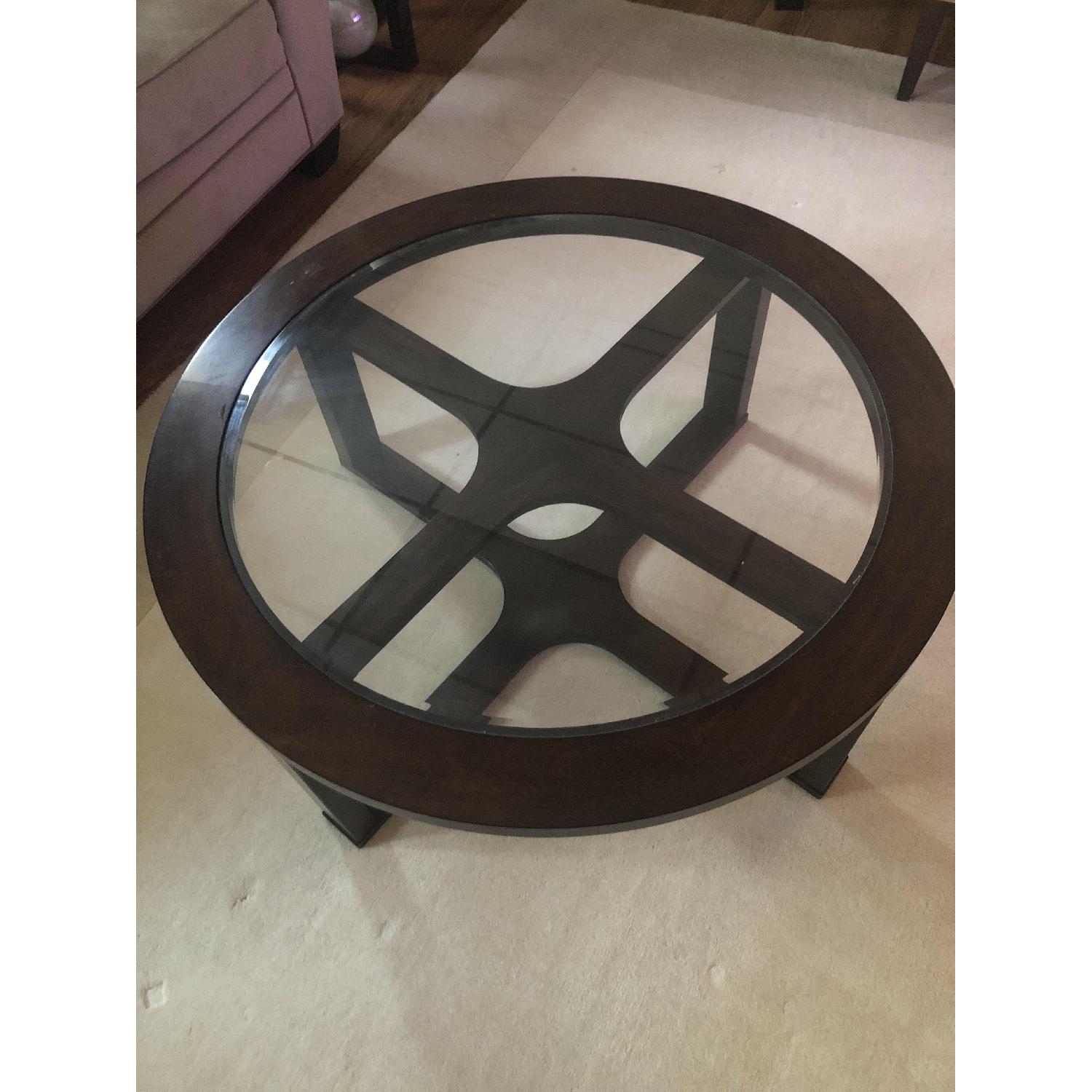 Round Glass Top Coffee Table w/ 4 Ottomans - image-7