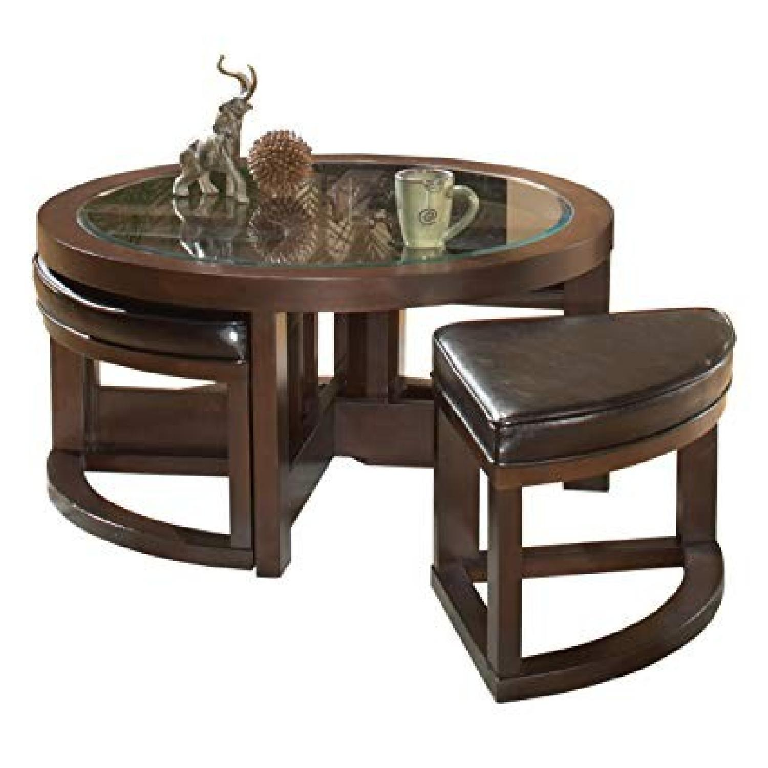 Round Glass Top Coffee Table w/ 4 Ottomans - image-0