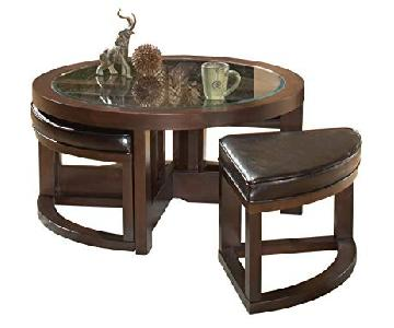 Round Glass Top Coffee Table w/ 4 Ottomans